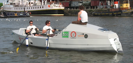 James and Niall on the Pan Atlantic Team boat in Bristol Harbour